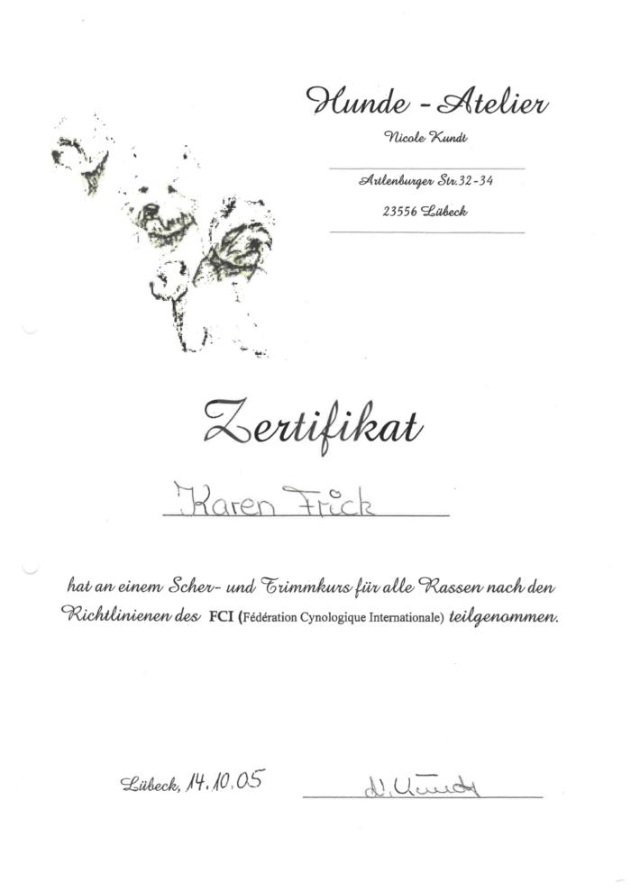 Hundetraining Kreis Segeberg - Karen Frick - zertifizierte Hundefriseurin - Zertifikat