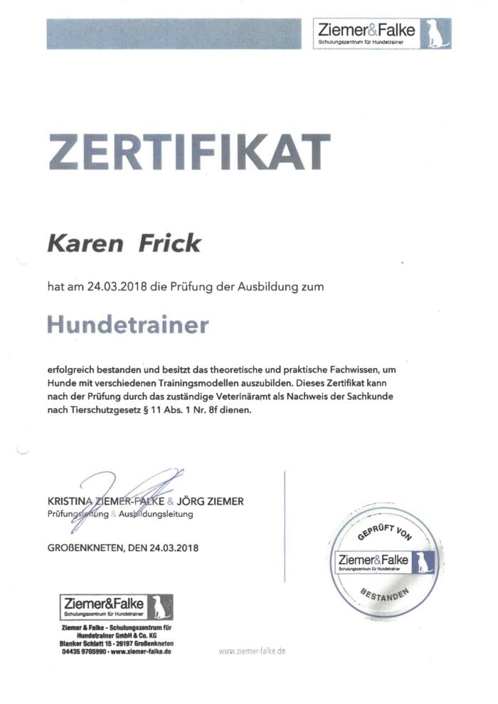 Hundetraining Kreis Segeberg - Karen Frick - zertifizierte Hundetrainerin- Zertifikat