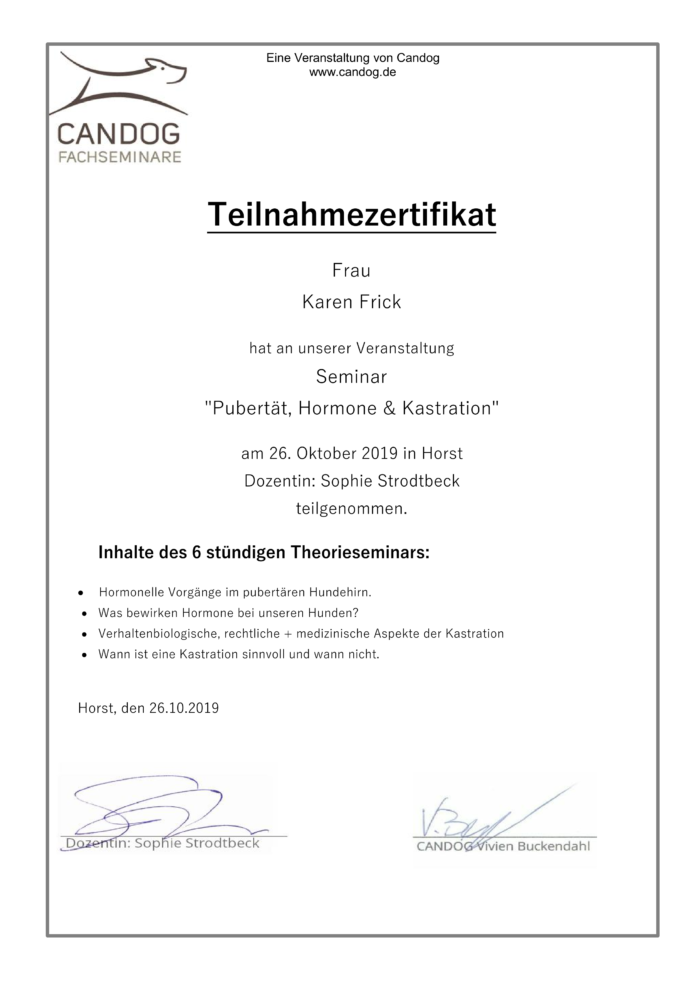 "Hundetraining Kreis Segeberg - Karen Frick - zertifizierte Hundetrainerin - Zertifikat ""Pubertät, Hormone & Kastration"""