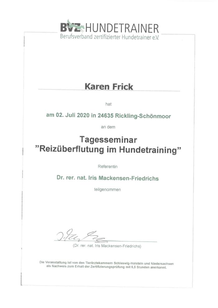"Hundetraining Kreis Segeberg - Karen Frick - zertifizierte Hundetrainerin - Zertifikat ""Reizüberflutung im Hundetraining"""